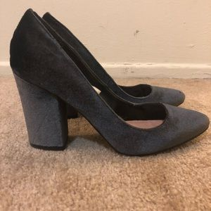 Velvet gray block heel
